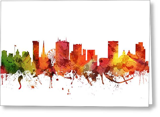 Birmingham Greeting Cards - Birmingham cityscape 04 Greeting Card by Aged Pixel