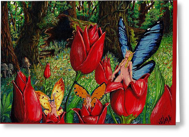 Surreal Landscape Drawings Greeting Cards - Birth Of A Fairy Greeting Card by Gregory M