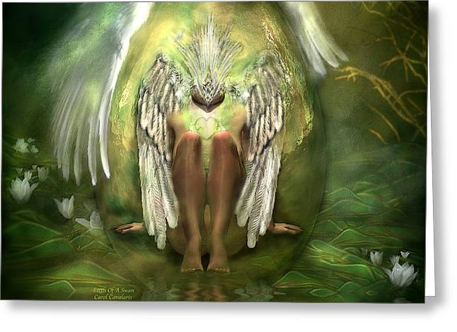 Swan Fantasy Art Greeting Cards - Birth Of A Swan Greeting Card by Carol Cavalaris