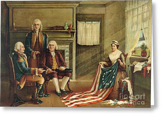 Birth Of Our Nation's Flag Greeting Card by G H Weisgerber