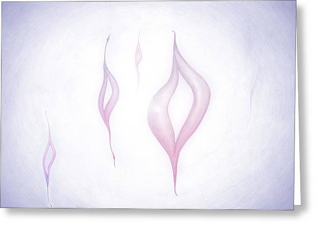 Abstract Rose Oval Greeting Cards - Born out of the Light Greeting Card by Michal Sornat