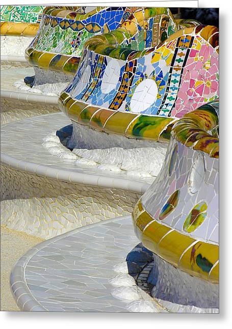 Guell Greeting Cards - Birthday Bench Greeting Card by Alan Todd