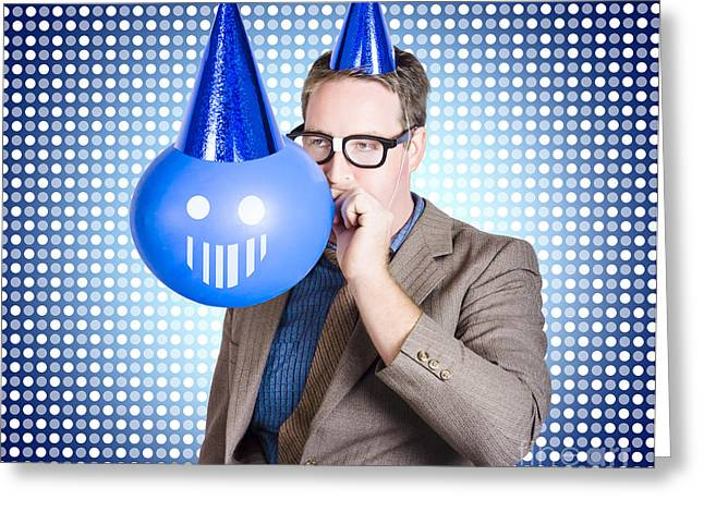 Animate Object Greeting Cards - Birthday businessman blowing up smiling balloon Greeting Card by Ryan Jorgensen