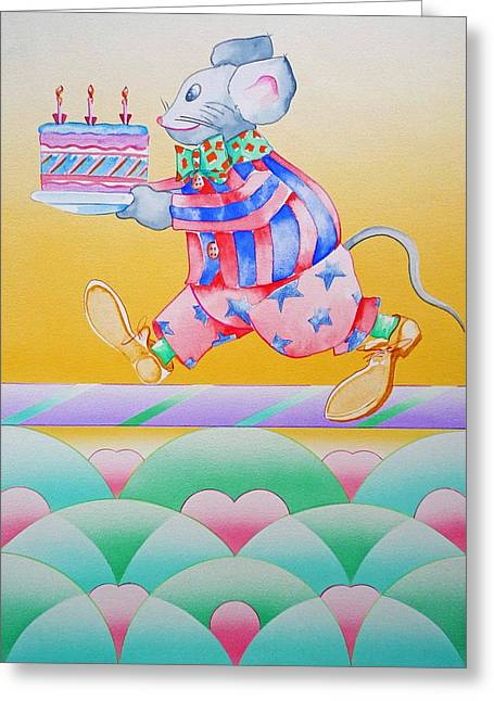 Stripes Sculptures Greeting Cards - Birthday Cake Greeting Card by Virginia Stuart
