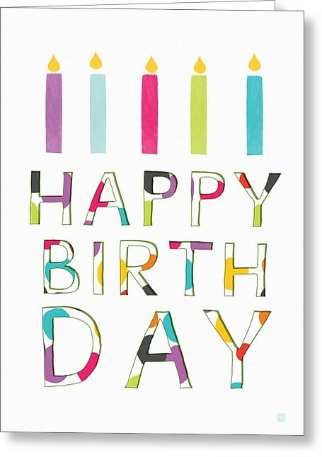 Birthday Candles- Art By Linda Woods Greeting Card by Linda Woods
