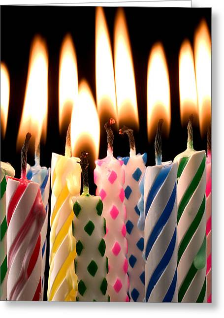 Concept Photographs Greeting Cards - Birthday candles Greeting Card by Garry Gay