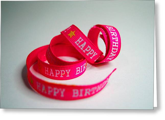 Party Invite Greeting Cards - Birthday Ribbon Greeting Card by Angelle Holmes