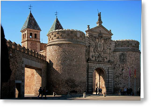 Entryway Greeting Cards - Bisagra Gate Toledo Spain Greeting Card by Joan Carroll