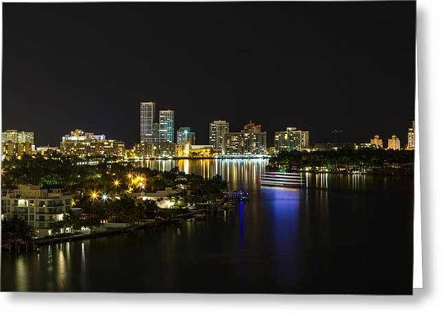 View Pyrography Greeting Cards - Biscayne Bay Night cruise Greeting Card by Satoshi Kina