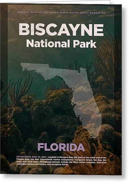 Biscayne National Park In Florida Travel Poster Series Of National Parks Number 05 Greeting Card by Design Turnpike
