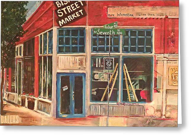 Local Mixed Media Greeting Cards - Bishop Street Market Greeting Card by Katrina Rasmussen