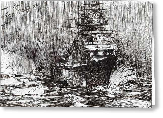 Warship Drawings Greeting Cards - Bismarck off Greenland Greeting Card by Vincent Alexander Booth