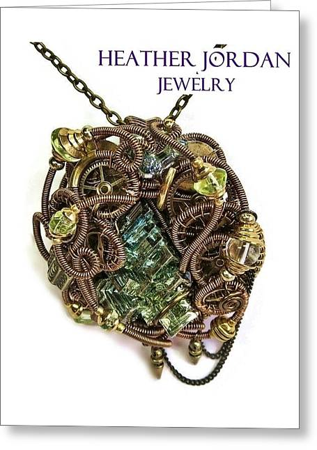 Weave Jewelry Greeting Cards - Bismuth Uranium Vaseline Glass Swarovski Crystal and Quartz Steampunk Pendant in Bronze STMBSM39 Greeting Card by Heather Jordan