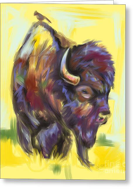 Bison Mixed Media Greeting Cards - Bison and bird Greeting Card by Go Van Kampen
