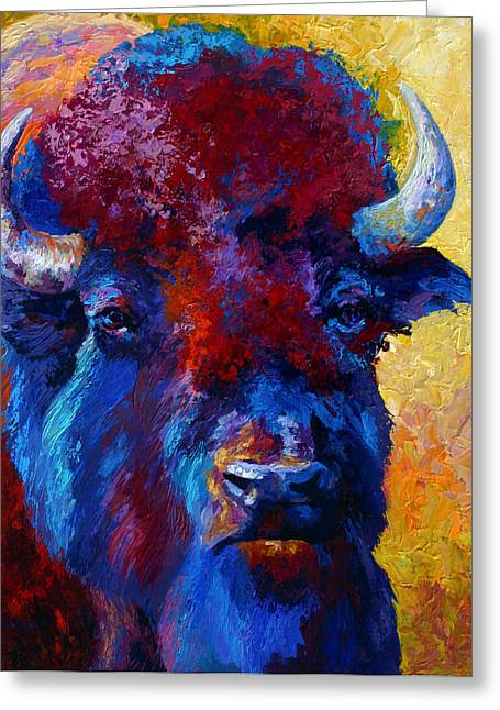 Bison Boss Greeting Card by Marion Rose