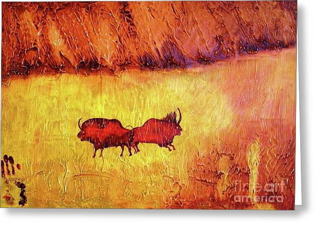 Bison Mixed Media Greeting Cards - Bison Greeting Card by Geegee W