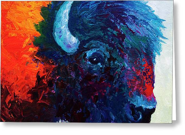 Bison Paintings Greeting Cards - Bison Head Color Study I Greeting Card by Marion Rose