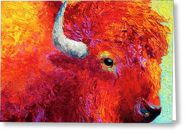 Prairies Greeting Cards - Bison Head Color Study IV Greeting Card by Marion Rose
