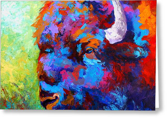 Bison Head II Greeting Card by Marion Rose