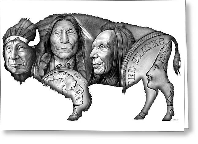 Bison Indian Montage 2 Greeting Card by Greg Joens