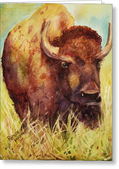 Buffalo Greeting Cards - Bison or Buffalo Greeting Card by Patricia Pushaw