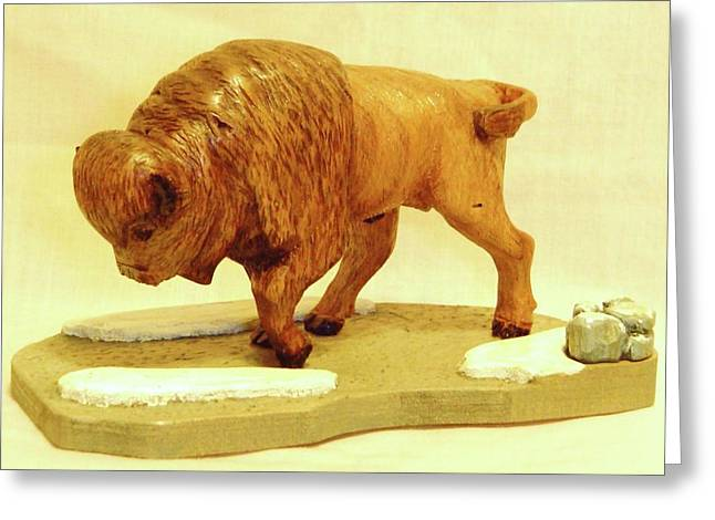Woodcarving Sculptures Greeting Cards - Bison  Greeting Card by Russell Ellingsworth
