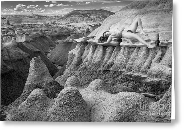 Woman Curled Position Greeting Cards - Bisti Topography Greeting Card by Inge Johnsson