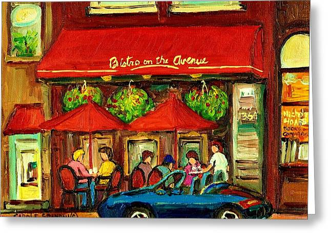 Recently Sold -  - Popular Art Greeting Cards - Bistro On Greene Avenue In Montreal Greeting Card by Carole Spandau