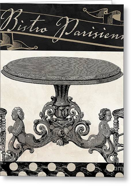 Tabletop Paintings Greeting Cards - Bistro Parisienne II Greeting Card by Mindy Sommers