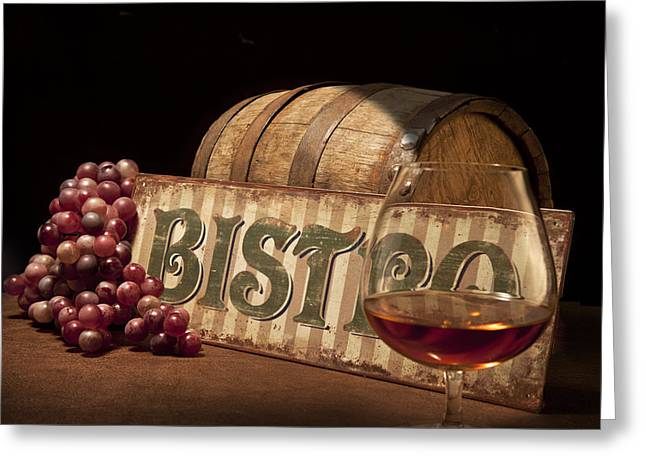 Glass Of Wine Greeting Cards - Bistro Still Life II Greeting Card by Tom Mc Nemar