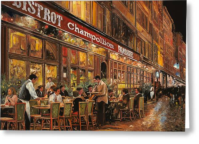 Night Scenes Greeting Cards - Bistrot Champollion Greeting Card by Guido Borelli