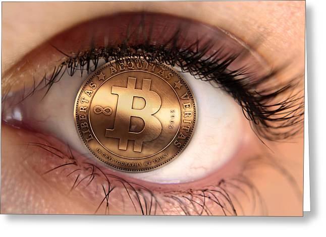 Silicon Valley Art Greeting Cards - Bitcoin Eye Greeting Card by Barbara Ki