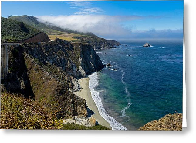 Bixby Bridge Greeting Cards - Bixby Bridge and Hurricane Point Greeting Card by Derek Dean