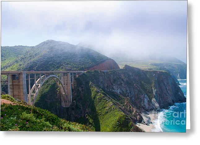Big Sur Ca Greeting Cards - Bixby Bridge Fog Greeting Card by Digartz - Thom Williams