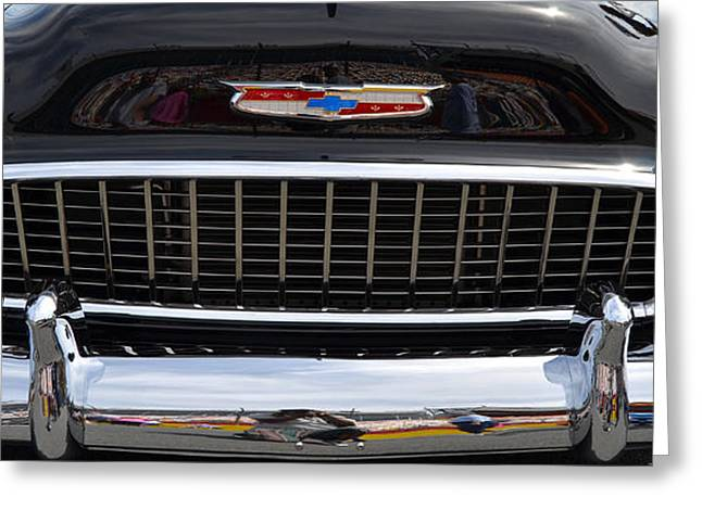 Stainless Steel Greeting Cards - black 55 Chevy grill Greeting Card by Mark Spearman