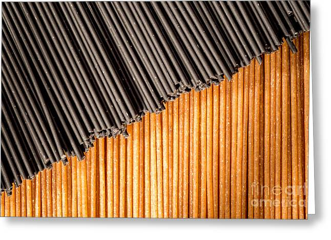 Wholewheat Greeting Cards - Black and brown spaghetti sticks togehter. Greeting Card by Jacques Jacobsz