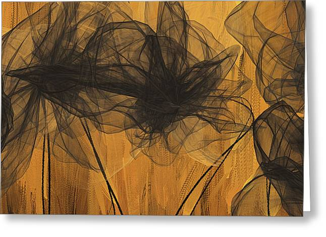 Black And Gold Abstract Art Greeting Card by Lourry Legarde