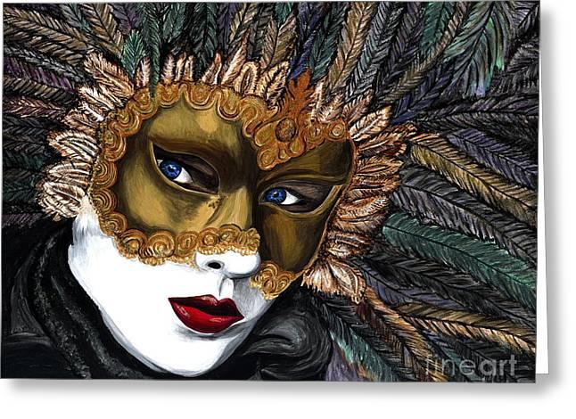 Black and Gold Carnival Mask Greeting Card by Patty Vicknair