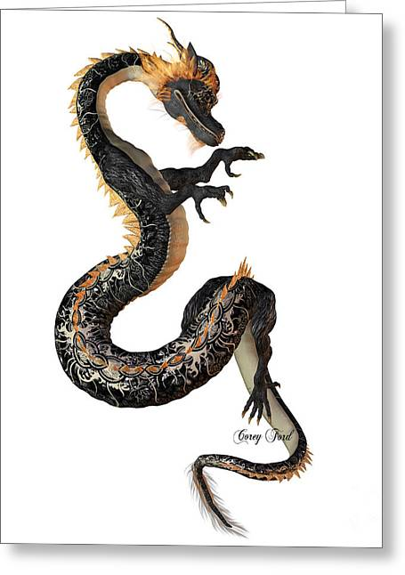 Fantasy Creatures Greeting Cards - Black and Gold Dragon Greeting Card by Corey Ford