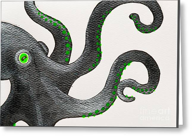 White Paintings Greeting Cards - Black and green octopus Greeting Card by Stefanie Forck