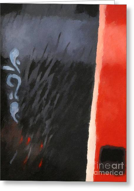 Red Abstracts Greeting Cards - Black and Red Composition Greeting Card by Lutz Baar