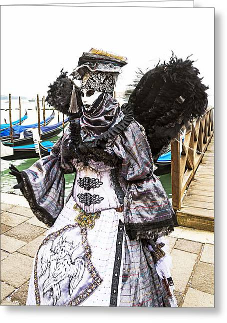 Beaded Gloves Greeting Cards - Black and Silver Angel 2015 Carnevale di Venezia Italia Greeting Card by Sally Rockefeller