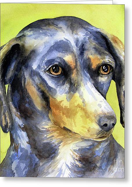 Black And Tan Dachshund Greeting Cards - Black and Tan Dachshund Greeting Card by Cherilynn Wood
