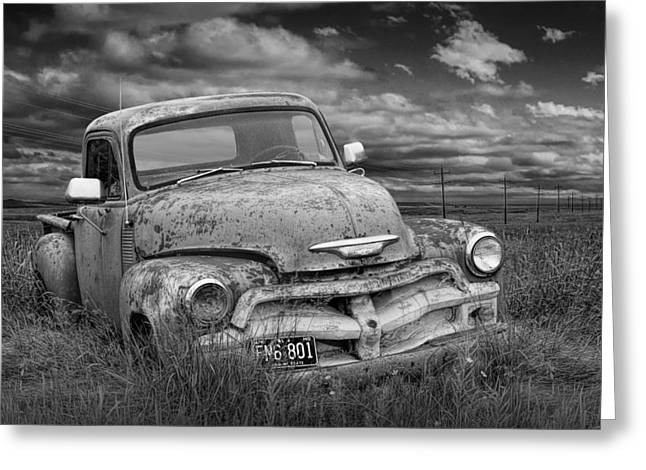 Randy Greeting Cards - Black and White Abandoned Chevy Pickup Truck Greeting Card by Randall Nyhof