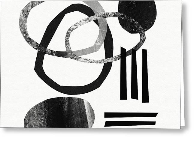 Black Greeting Cards - Black and White- Abstract Art Greeting Card by Linda Woods