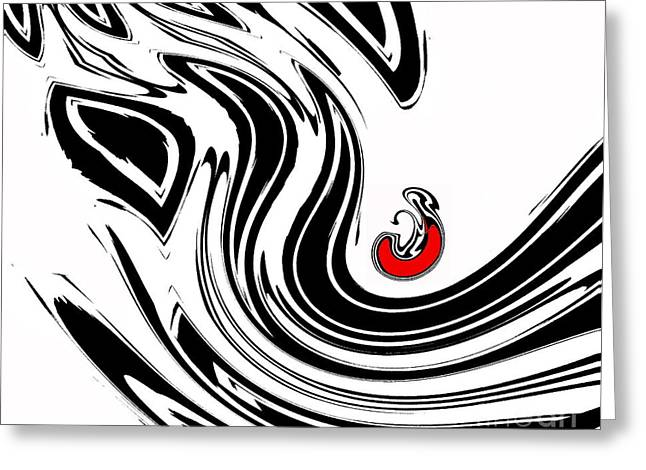 Introversion Greeting Cards - Black and White and Red No.54. Greeting Card by Drinka Mercep