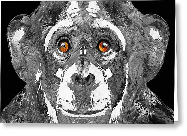 Planet Paintings Greeting Cards - Black And White Art - Monkey Business 2 - By Sharon Cummings Greeting Card by Sharon Cummings