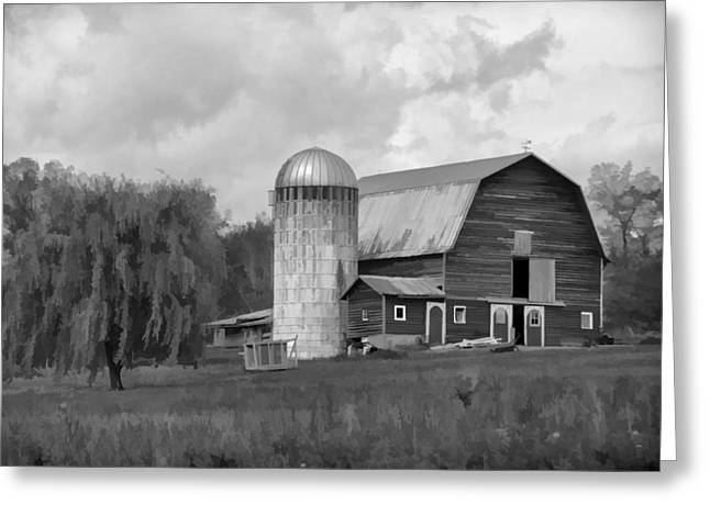 Farmers Field Greeting Cards - Black and White Barn Greeting Card by Donna Doherty