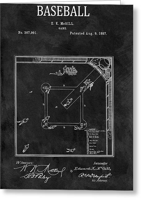 Black And White Baseball Game Patent Greeting Card by Dan Sproul