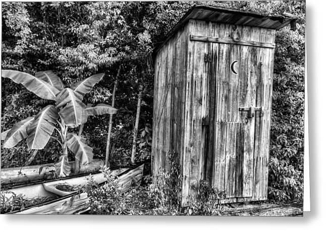 Wooden Outhouse Greeting Cards - Black and White Bathroom Art Greeting Card by JC Findley